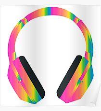 Rainbow Headphones Poster