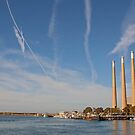 Morro Bay & the Old Power Plant Smoke Stacks by Buckwhite