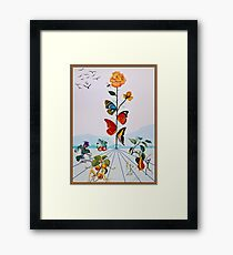 BUTTERFLY ROSE : Vintage Abstract Dali Painting Print Framed Print