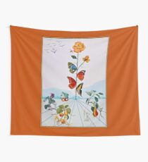BUTTERFLY ROSE : Vintage Abstract Dali Painting Print Wall Tapestry