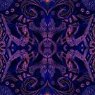 Curves  and lotuses, abstract arabesque pattern, black purple by clipsocallipso