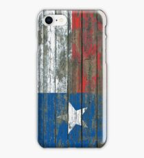 Flag of Texas on Rough Wood Boards Effect iPhone Case/Skin