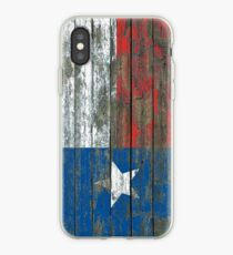 Flag of Texas on Rough Wood Boards Effect iPhone Case