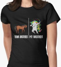 Camiseta entallada para mujer Her Brother My Brother Camiseta Unicornio Funny Dabbing Cute Dab