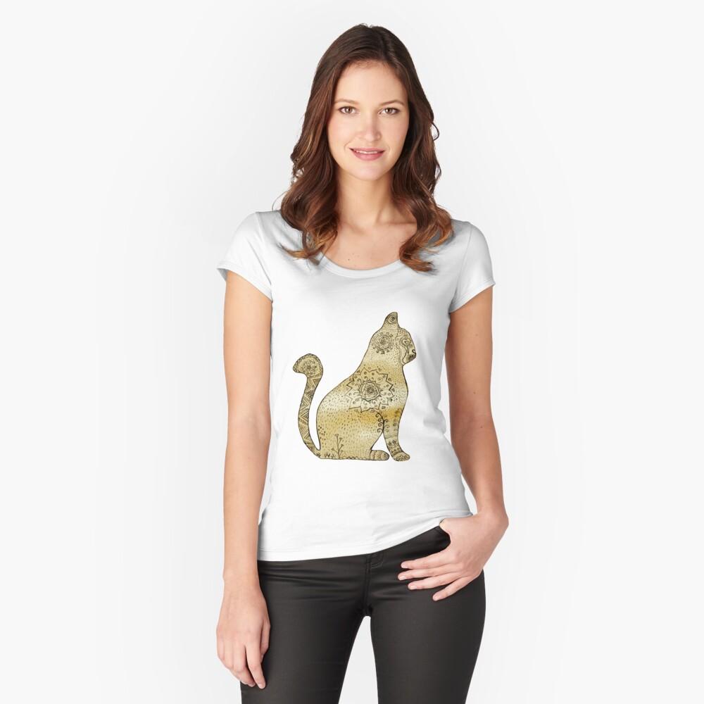 Mandala Cat Camiseta entallada de cuello redondo