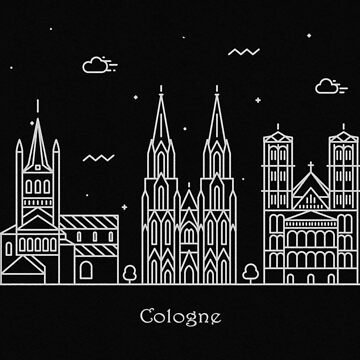 Cologne Skyline Minimal Line Art Poster by geekmywall