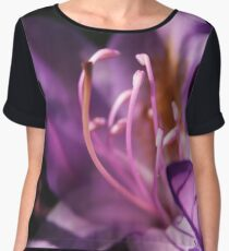 Lavender Rhododendron Flower Chiffon Top