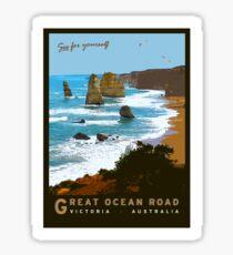 Great Ocean Road Vintage Illustration Sticker