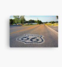 U.S. Route 66 highway, with sign on asphalt on Missouri.  Canvas Print
