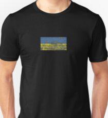 Flag of Ukraine on Rough Wood Boards Effect Unisex T-Shirt