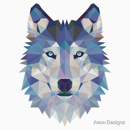 """Geometric Wolf"" Stickers by Aeon Designs 