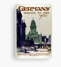 Vintage Germany Wants to See You Cars Travel Canvas Print