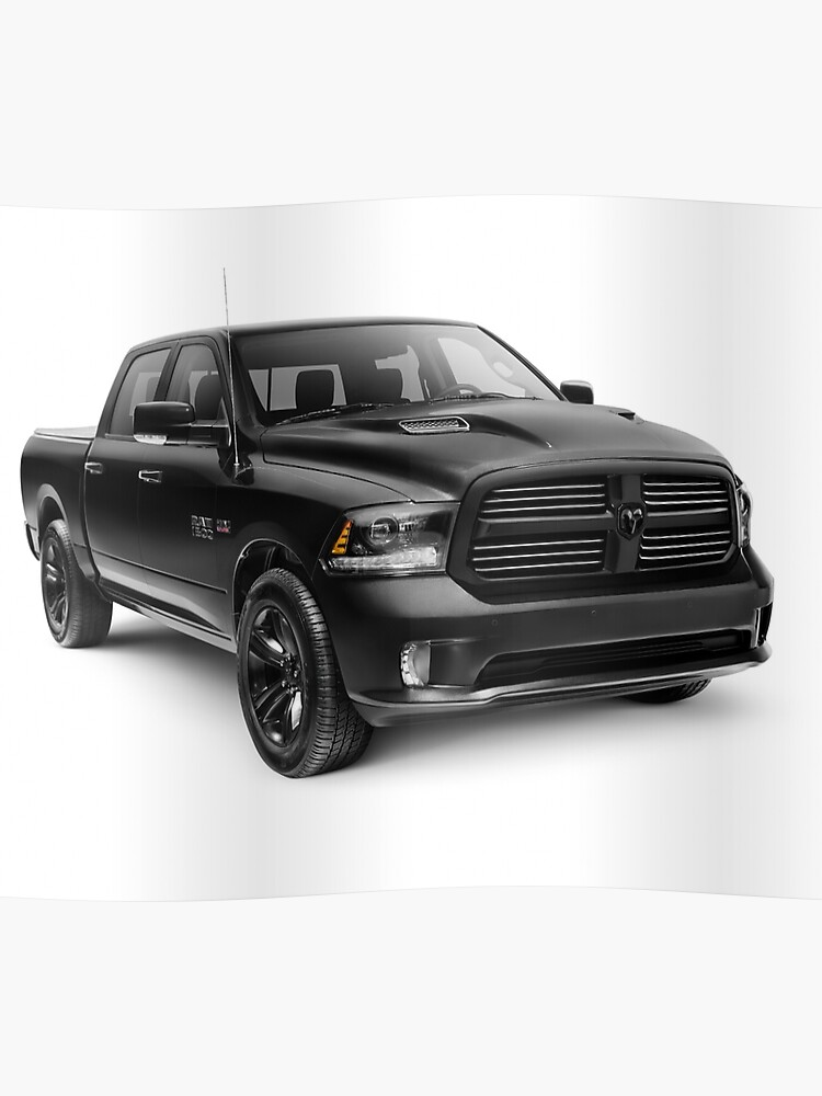 2015 Dodge Truck >> Black 2015 Dodge Ram 1500 4x4 Pickup Truck Art Photo Print Poster