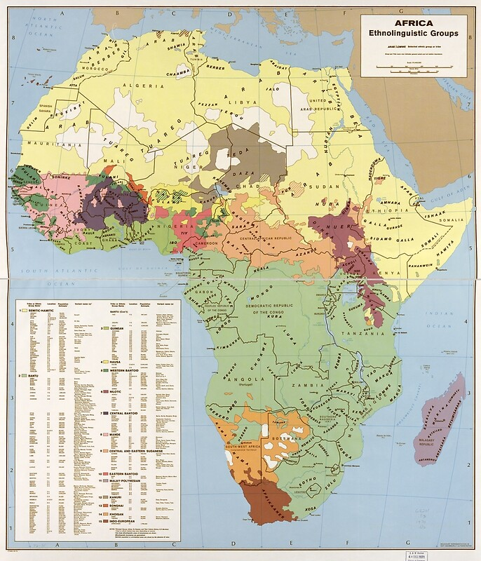 1970 - Map of Africa, Ethnolinguistic Groups