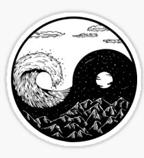 Wave and mountains Ying-Yang Sticker