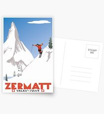 Zermatt, Wallis, Schweiz, Ski Poster Postkarten