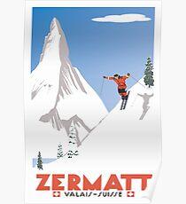Zermatt, Wallis, Schweiz, Ski Poster Poster