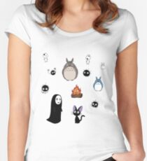 Totoro Character Set Women's Fitted Scoop T-Shirt