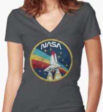 Nasa Vintage Colors V01 Women's Fitted V-Neck T-Shirt