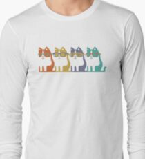 Cats In Glasses Row Long Sleeve T-Shirt