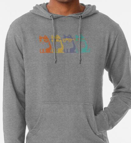 Cats In Glasses Row Lightweight Hoodie