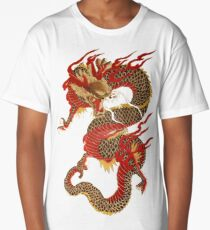 Feudal Vintage Japanese Dragon Long T-Shirt
