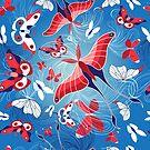 Seamless pattern of beautiful butterflies by Tanor
