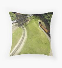 Scale Model Trains, Scale Model Buildings, Greenberg's Train and Toy Show, Edison, New Jersey  Throw Pillow