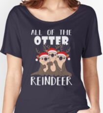 Camiseta ancha All Of The Otter Reindeer Christmas Holiday camiseta