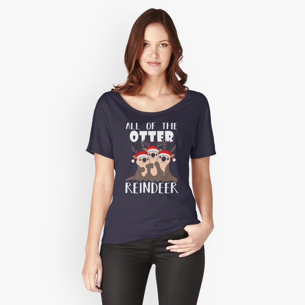 All Of The Otter Reindeer Christmas Holiday camiseta Camiseta ancha