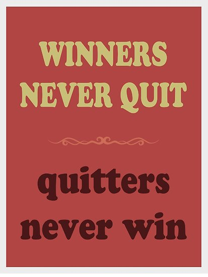 WINNERS NEVER QUIT quitters never win by Inspired Images