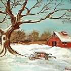 Old Barn & Old Tree by KenLePoidevin