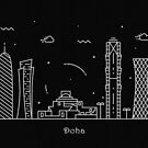 Doha Skyline Minimal Line Art Poster by A Deniz Akerman