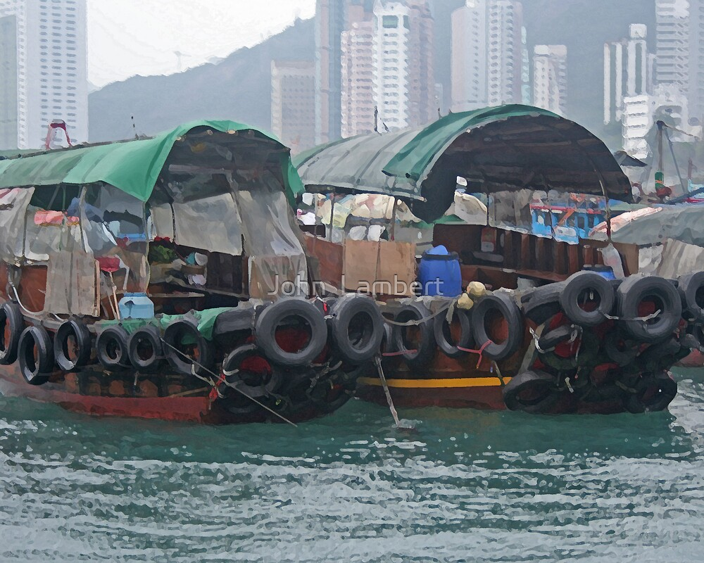 Sampans in Hong Kong Harbour by John  Lambert