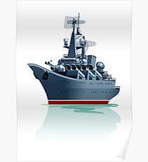 Cartoon battleship. Poster