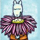 Rover With A Cone Flower by Penny Hetherington