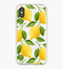 Watercolor Lemon Pattern iPhone Case