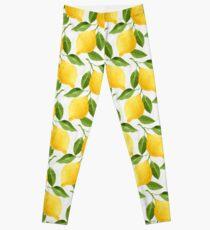 Watercolor Lemon Pattern Leggings