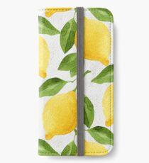 Aquarell Lemon Muster iPhone Flip-Case/Hülle/Klebefolie