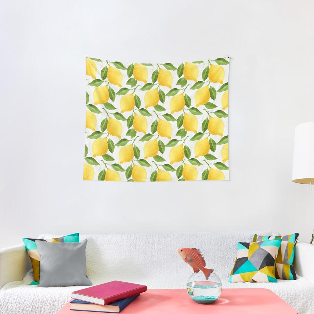 Watercolor Lemon Pattern Tapestry