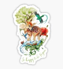 Cute vegan deer by Maria Tiqwah Sticker