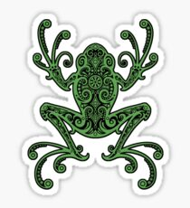 Intricate Green and Black Tree Frog Sticker