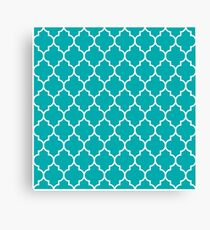 TEAL AND WHITE Moroccan Quatrefoil Canvas Print