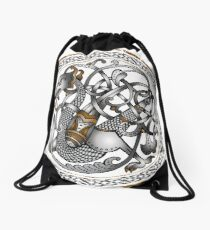 Celtic Dragon on circle Drawstring Bag