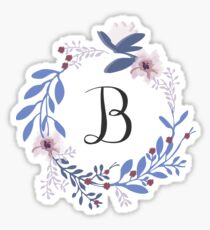 Flowers and the Letter B Sticker