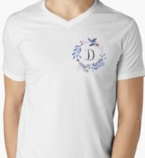 Flowers and the Letter D Men's V-Neck T-Shirt