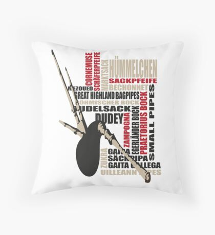 Sackpfeifen Textwolke Throw Pillow