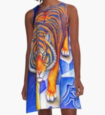 Colorful Chinese Zodiac Animals Year of the Tiger A-Line Dress