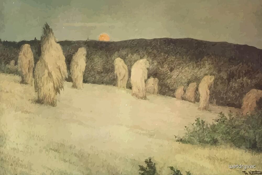 Theodor Kittelsen Kornstaur i måneskinn ca 1900 Stooks of Corn in Moonlight by wetdryvac