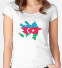 Flag Map of Azerbaijan  Fitted Scoop T-Shirt